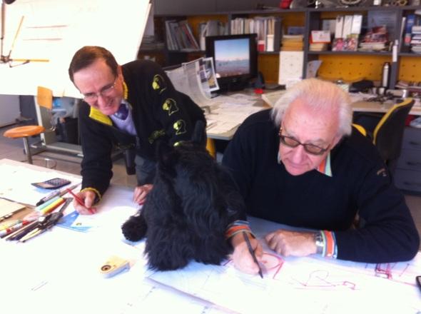 Con il nonno ed il suo progettista, intento a lavorare.
